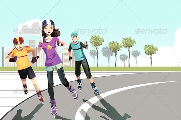 GraphicRiver Rollerblading Teenagers 6443324