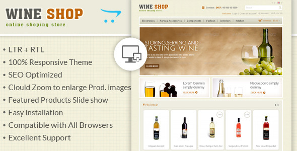 01 themepreview.  large preview Wine Shop   Responsive OpenCart Theme (OpenCart)