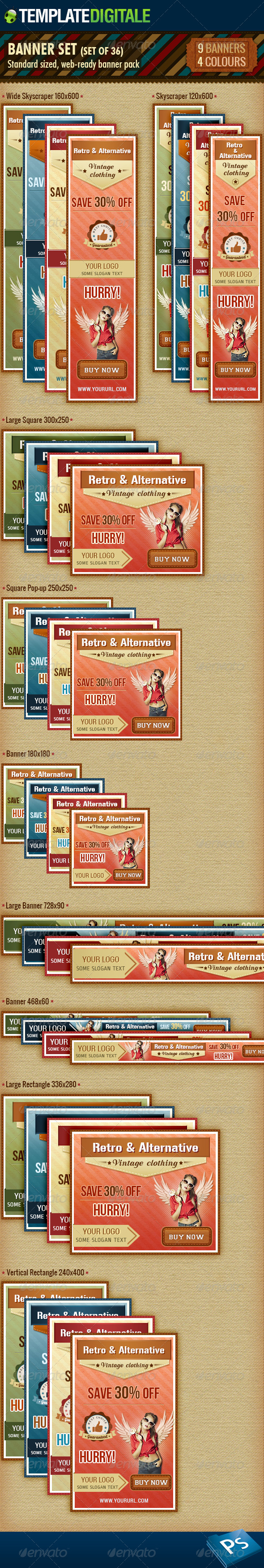 GraphicRiver 36 Vintage Banner Set 6444956