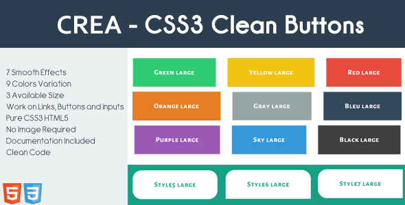 CodeCanyon CREA CSS3 Clean Buttons 6445708