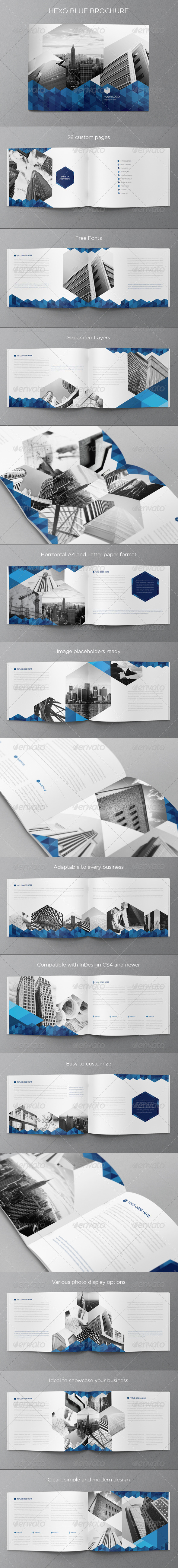 GraphicRiver Real Estate Blue Hexo Brochure 6446056