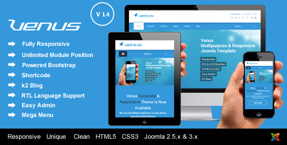 Venus - Responsive Multi-Purpose Joomla Template