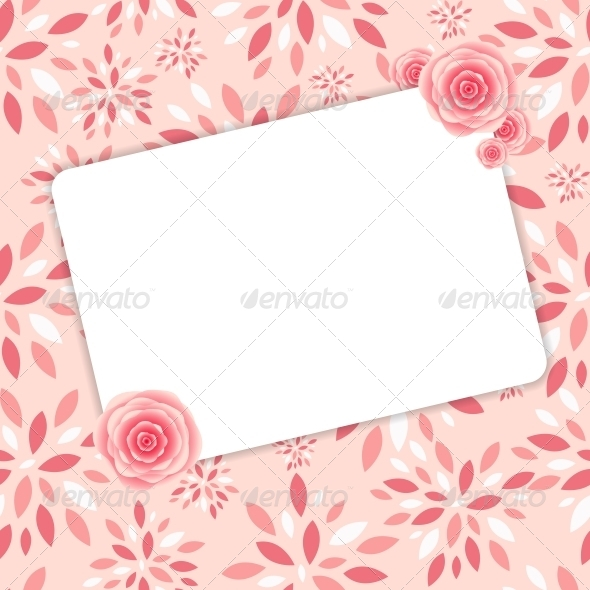 GraphicRiver Cute Frame with Rose Flowers Vector Illustration 6447183