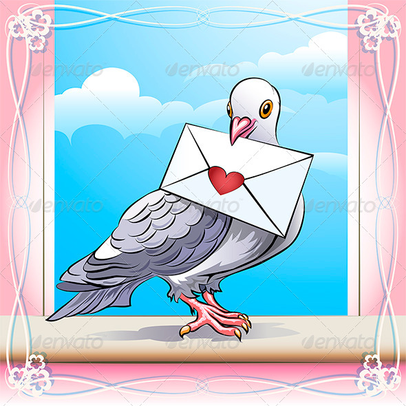 GraphicRiver Pigeon with Letter 6447466