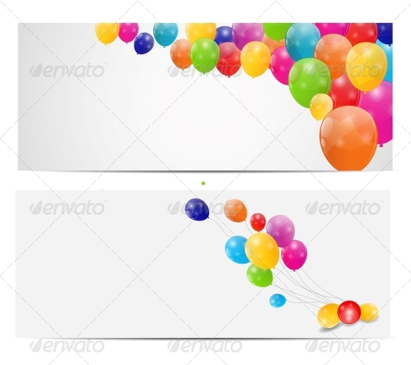 GraphicRiver Color Glossy Balloons Background Vector 6447537