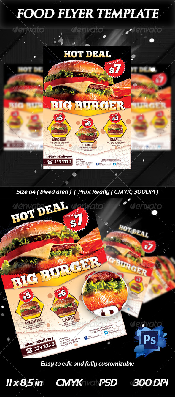 GraphicRiver Fresh Burger Food Flyer Templates 6416705