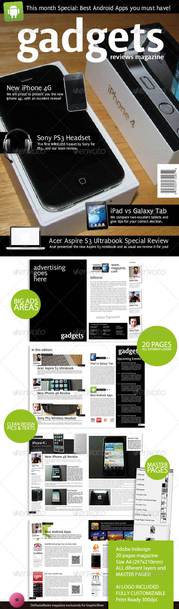 adobe indesign magazine template download free - gadgets magazine indesign template graphicriver