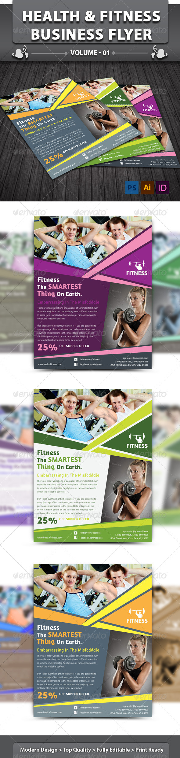 GraphicRiver Health & Fitness Business Flyer v1 6449569