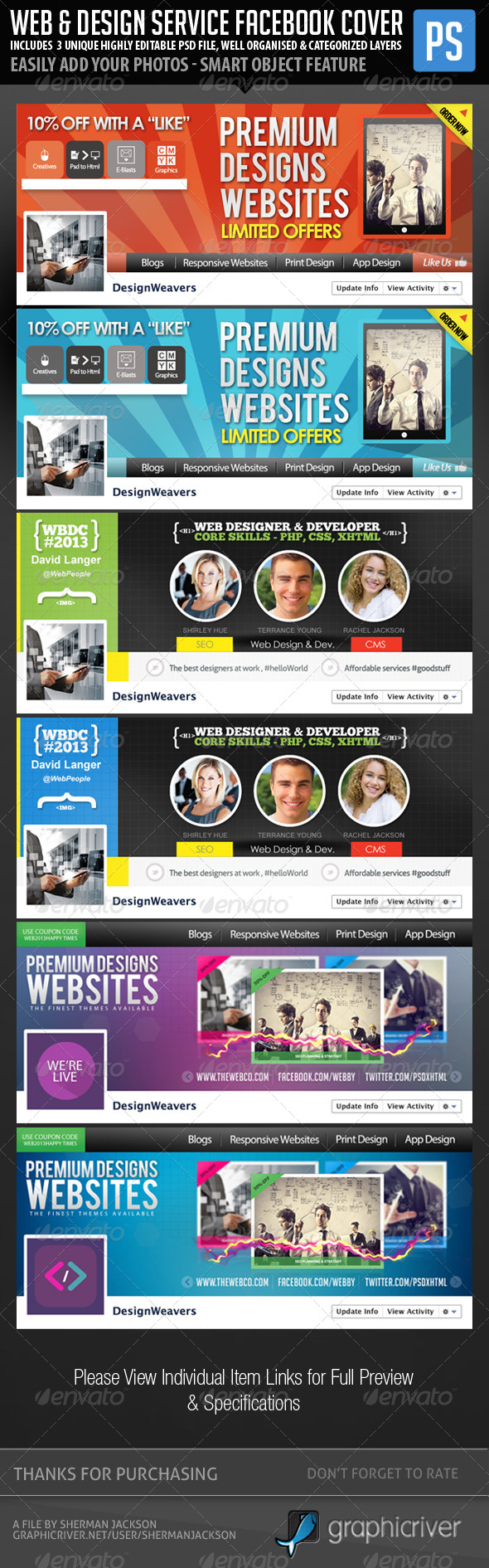 GraphicRiver Web & Graphic Design Service Facebook Bundle 6450283