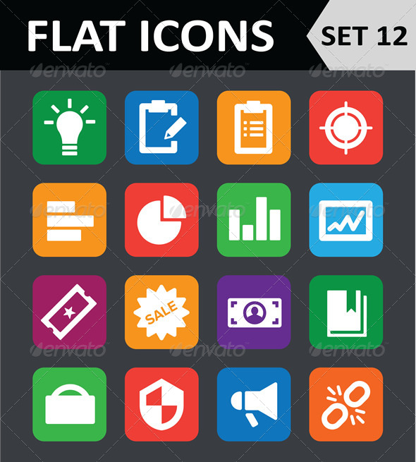 GraphicRiver Universal Colorful Flat Icons Set 12 6450764
