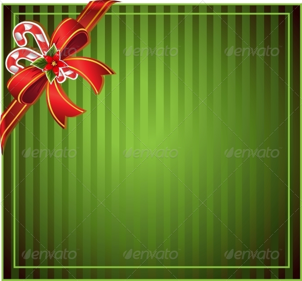 GraphicRiver Green Christmas Background with Bow 6450918