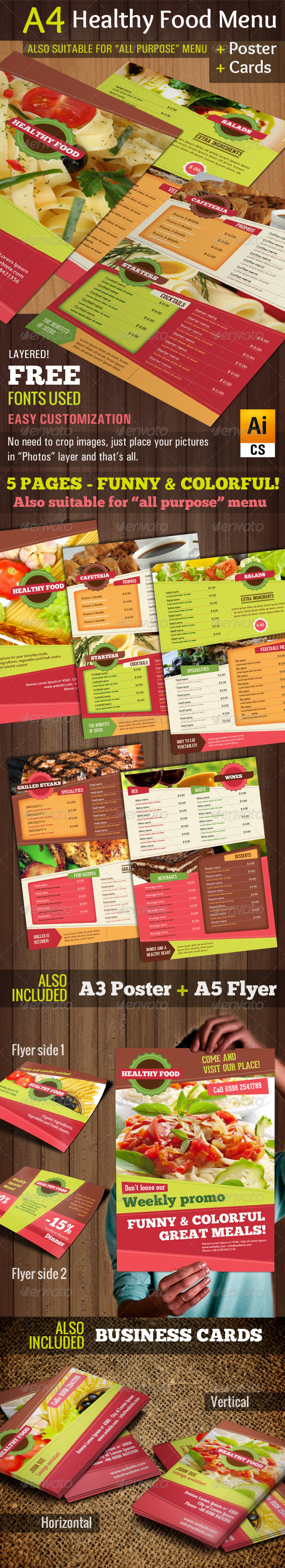 GraphicRiver A4 Healthy Food Menu & Poster & Flyer & Cards 6405515