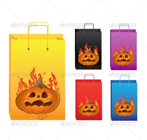 GraphicRiver Halloween Color Shopping Bags 6452353