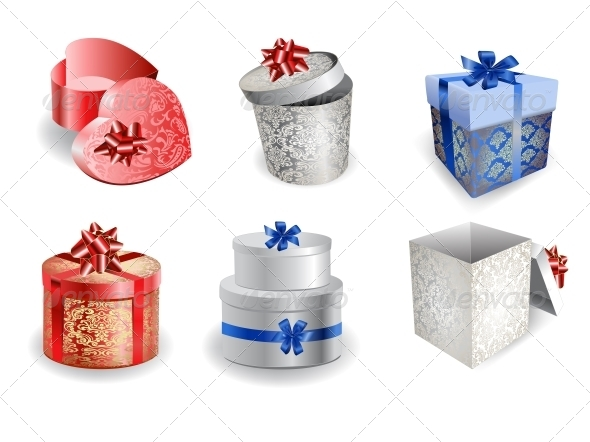 GraphicRiver Set of Colorful Gift Boxes with Bows and Ribbons 6452387