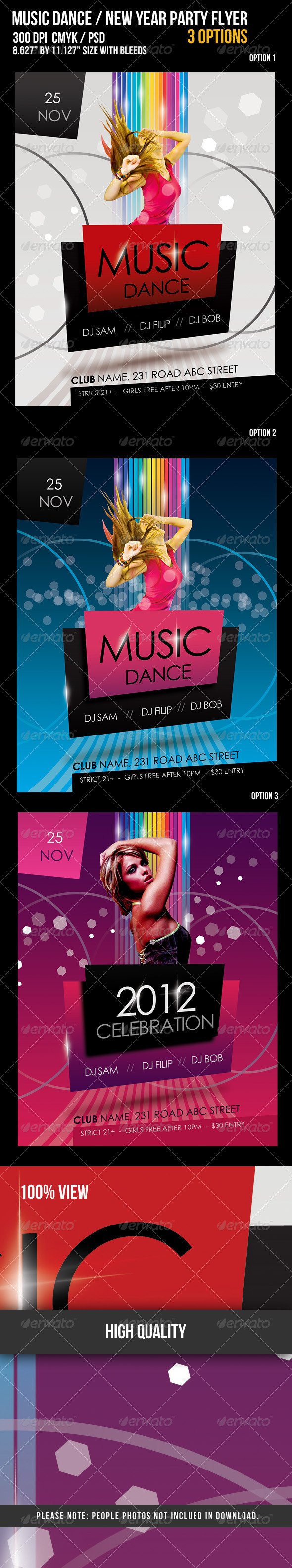 Music Dance / New Year Party Flyer - Clubs & Parties Events