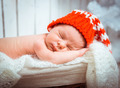newborn sleeps in santa hat - PhotoDune Item for Sale