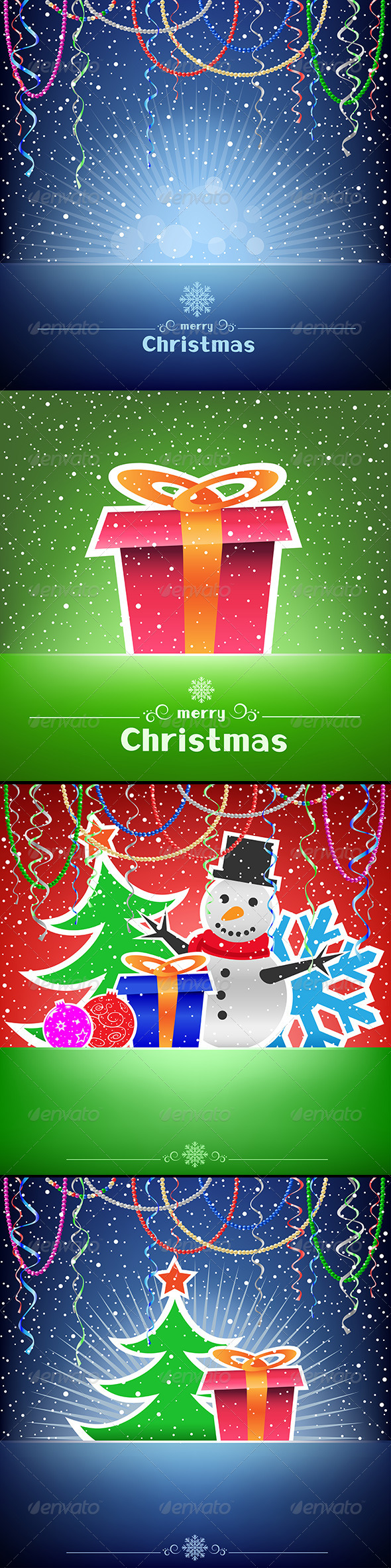 GraphicRiver Christmas and New Year Multicolored Card Collection 6455844