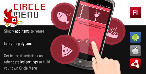 CodeCanyon AS3 Circle Menu for Air android and iOS 6455878