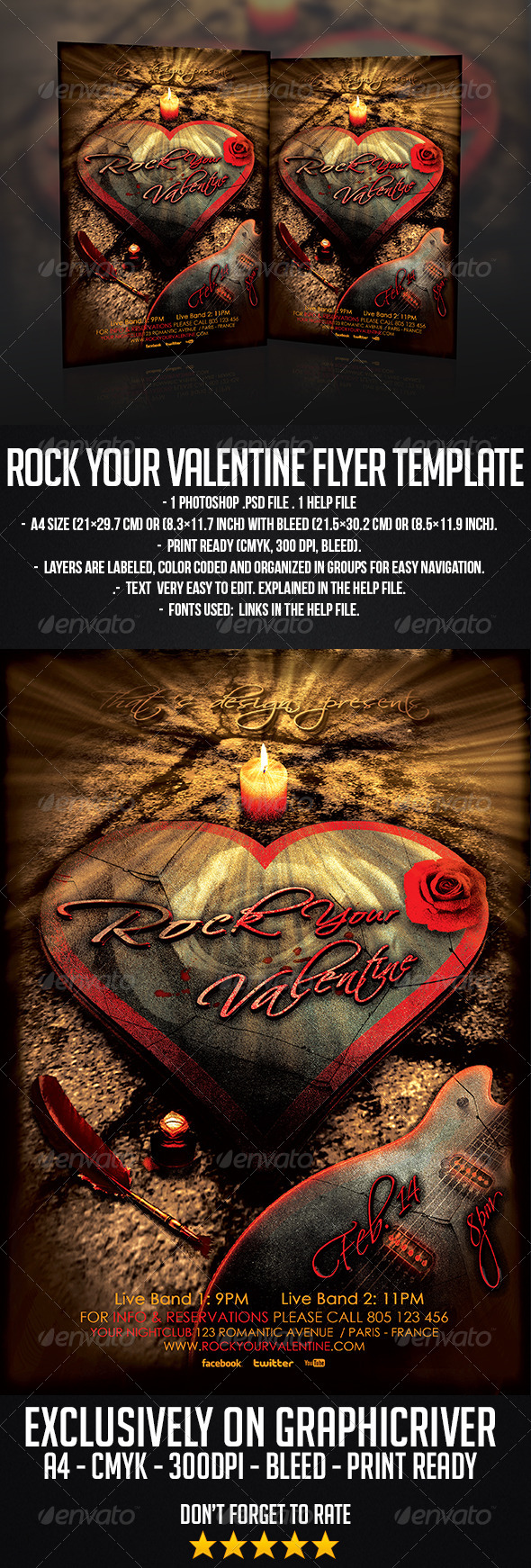 Rock Your Valentine Flyer Template - Concerts Events
