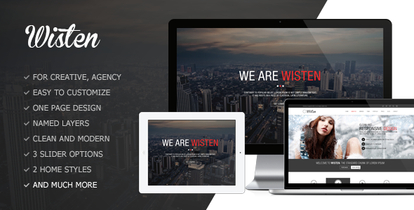Wisten One Page PSD Theme - Creative PSD Templates
