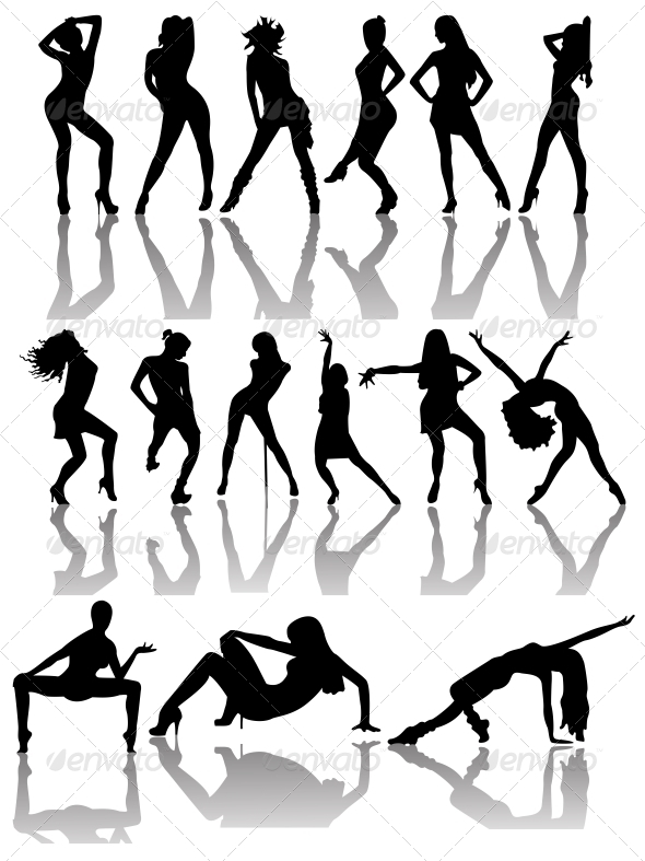 GraphicRiver Set of Silhouettes of Dancing Couple and Girls 6459465