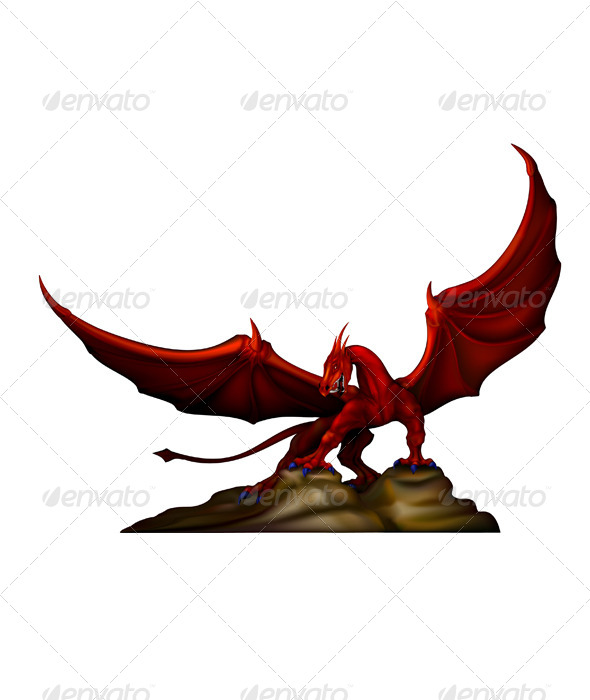 GraphicRiver Red Dragon on the Rocks 6459767