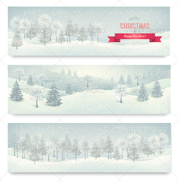 GraphicRiver Three Christmas Landscape Banners 6460099