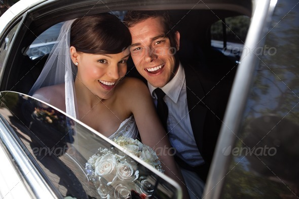 Happy newly wed couple - Stock Photo - Images