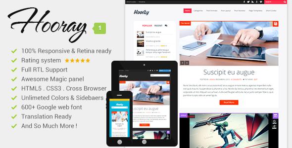ThemeForest Hooray Premium Wordpress Blog Theme 6449280