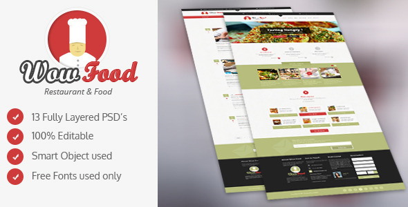 ThemeForest WOW Food PSD 6461356