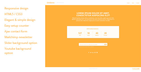 01 preview 590X300.  large preview Underco   Responsive HTML5 coming soon page (Under Construction)