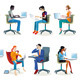 Set of People Working Sitting - GraphicRiver Item for Sale