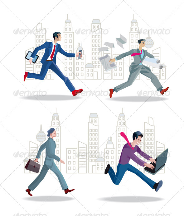 GraphicRiver Businessmen Running in the City 6461772