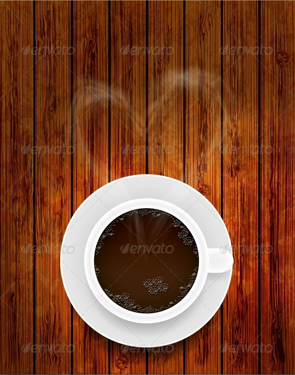 GraphicRiver Vector Coffee Cup on Wooden Background 6462012