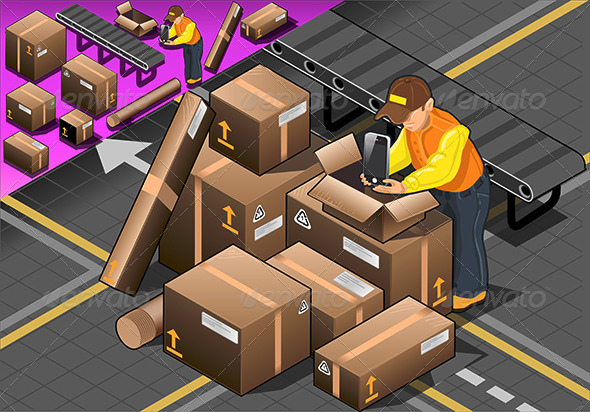 GraphicRiver Isometric Packer at Work with Boxes 6462357