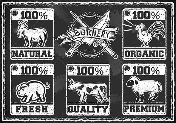GraphicRiver Vintage Butcher Shop Label on a Blackboard 6462464