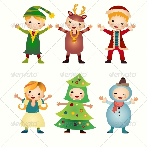 GraphicRiver Children in Costumes Isolated 6462881