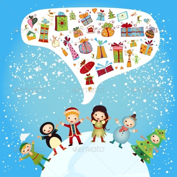 GraphicRiver Group of Children-Winter Boys and Girls 6462895