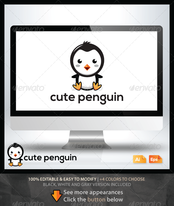 GraphicRiver Cute Penguin Logo 6463589