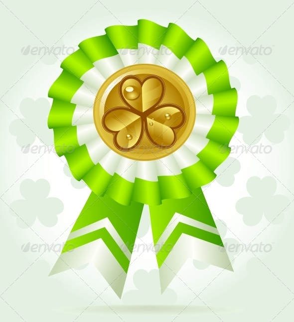 GraphicRiver Clover Award on St PatricK`s Day with Gold Coin 6465085