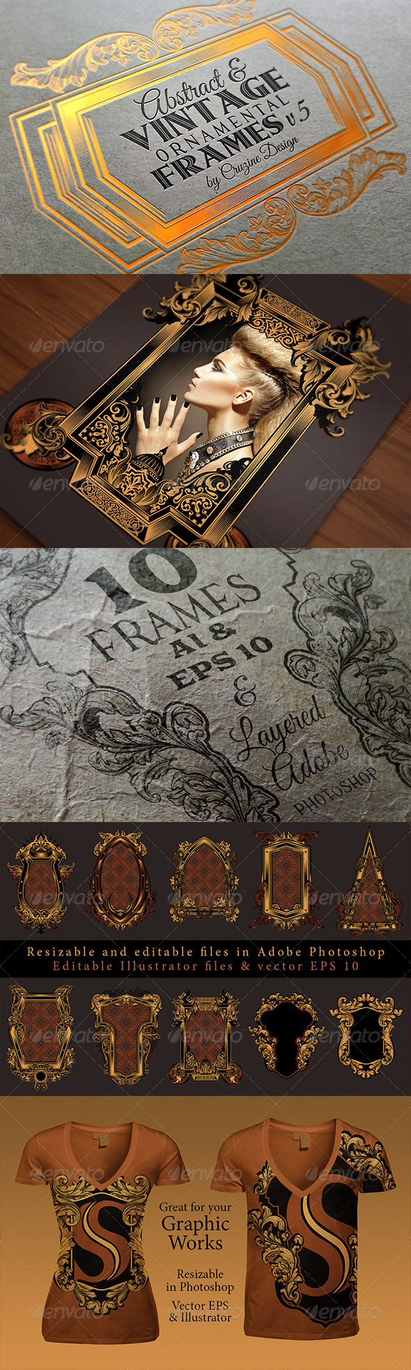 GraphicRiver 10 Frames Vol.5 Vintage Ornament 6466153