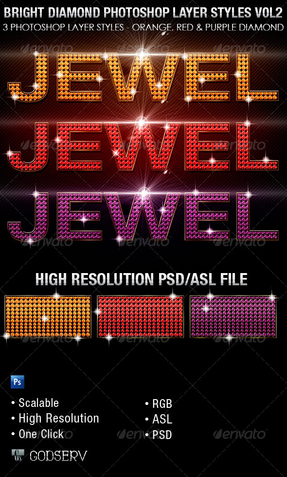 GraphicRiver Bright Diamond Photoshop Layer Styles Vol 3 6466446