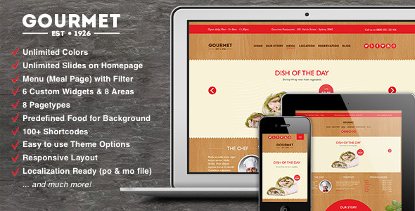 ThemeForest Gourmet Restaurant Bar Hotel WordPress Theme 6446600