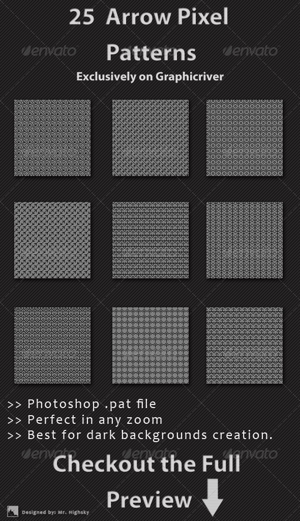 GraphicRiver 25 Arrow Pixel Patterns 6467736