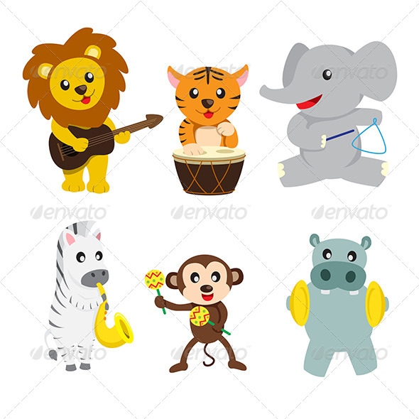 GraphicRiver Animals Playing Music 6467882