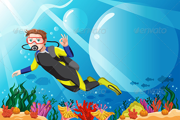 GraphicRiver Scuba Diver in the Ocean 6467883