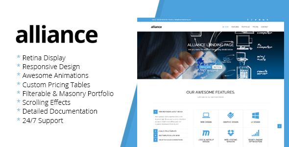 Alliance - Retina Landing Page Template