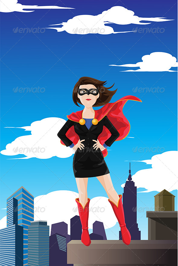 GraphicRiver Superhero Businesswoman 6468064