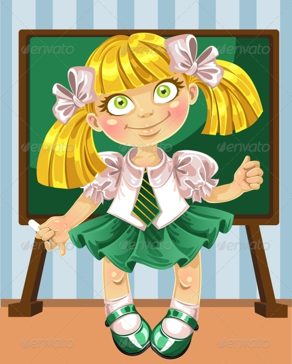 GraphicRiver Little Schoolgirl at the Board 6470777