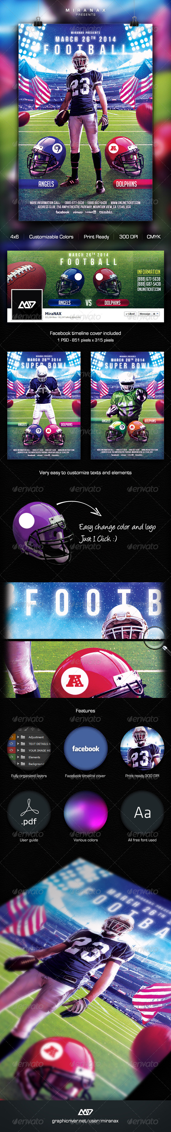 GraphicRiver Super Bowl College Football Flyer Template 6470912